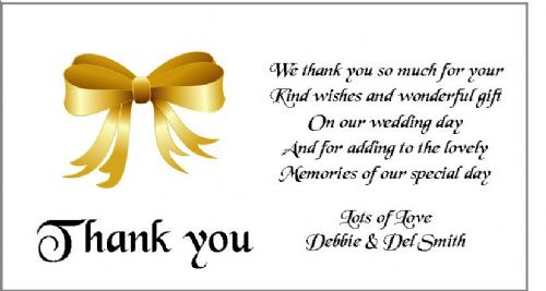 Thank You Gift Cards Wedding Personalised -  Gold Bow  design x 10